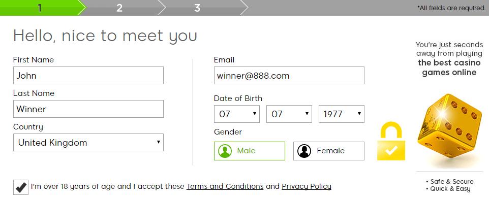 888 casino registration