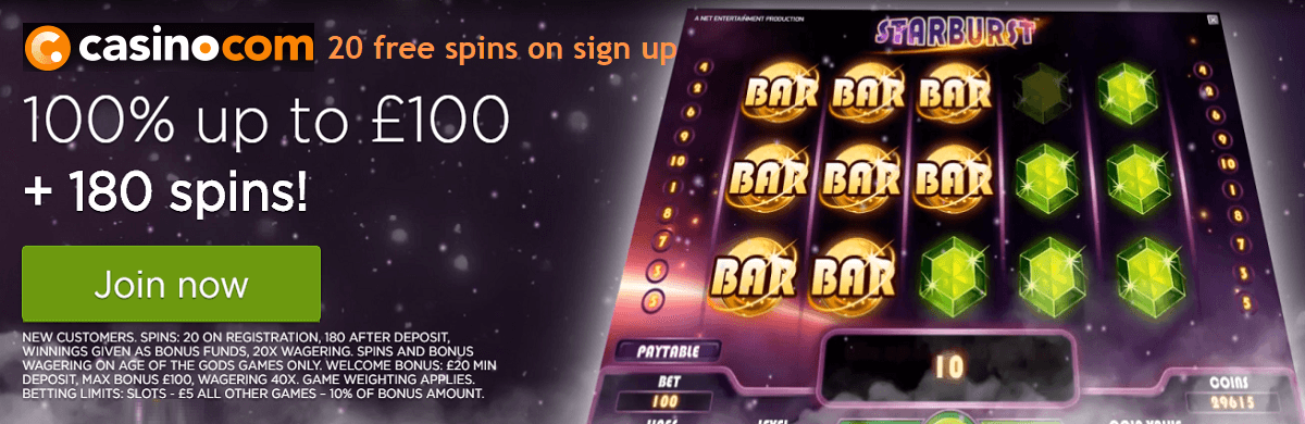 Casino.Com UK Free Spins Bonus