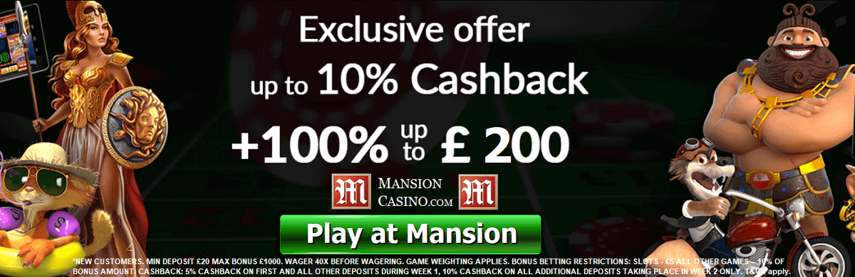 Mansion Casino Bonus Cash Back UK