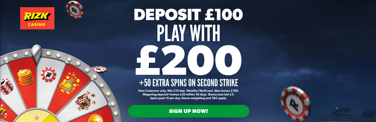 Rizk Casino UK Sign Up Bonus Free Spins