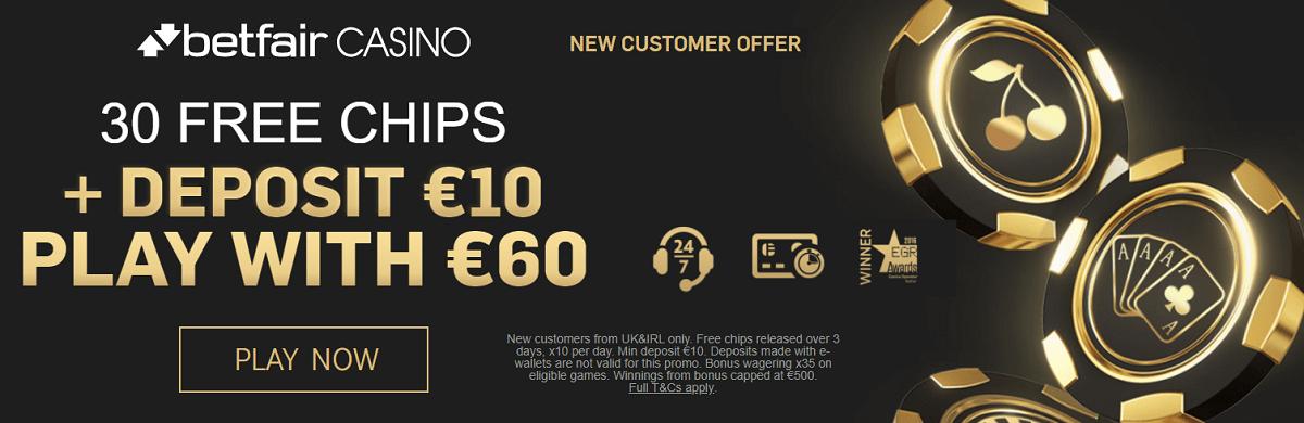 Betfair 30 Free Chips + 500% Bonus